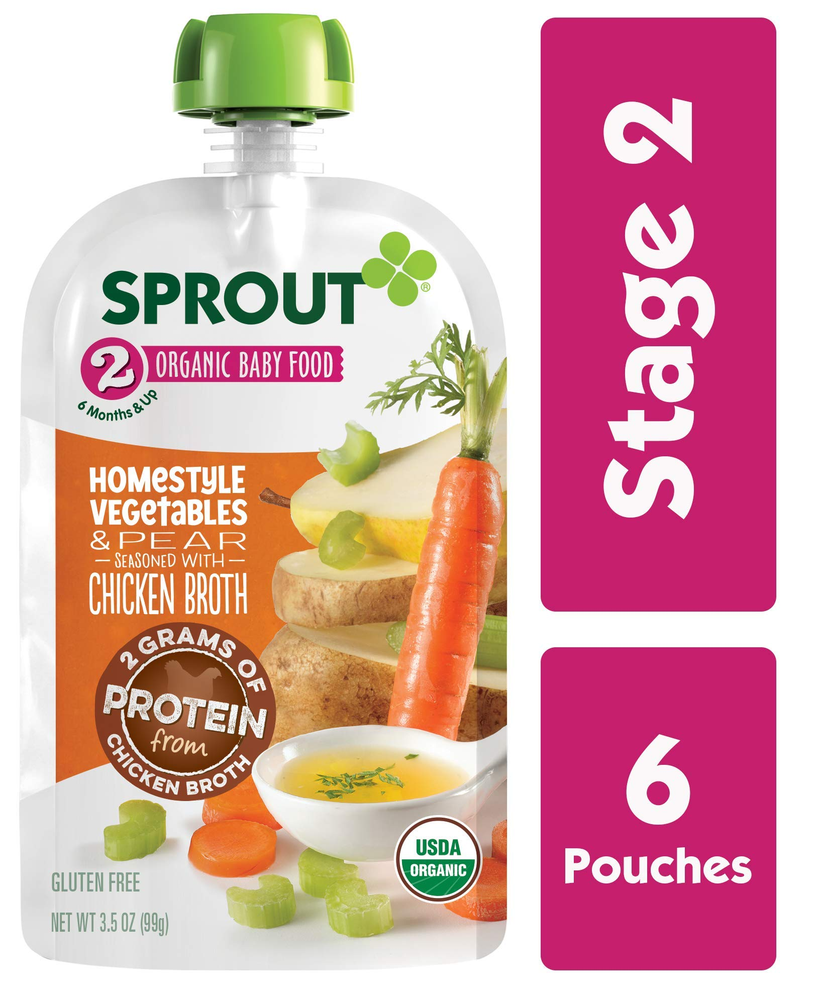 Sprout Organic Stage 2 Baby Food Homestyle Vegetables & Pear w/ Chicken Bone Broth, 3.5 Ounce (Pack of 6) by Sprout