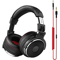 OneOdio Adapter-free Closed-Back DJ Studio Headphones for Monitoring and Mixing, Protein Leather Earcups, Noise Isolation, 90° Rotatable Housing, Portable Over Ear Stereo Headphones (Upgraded Version)