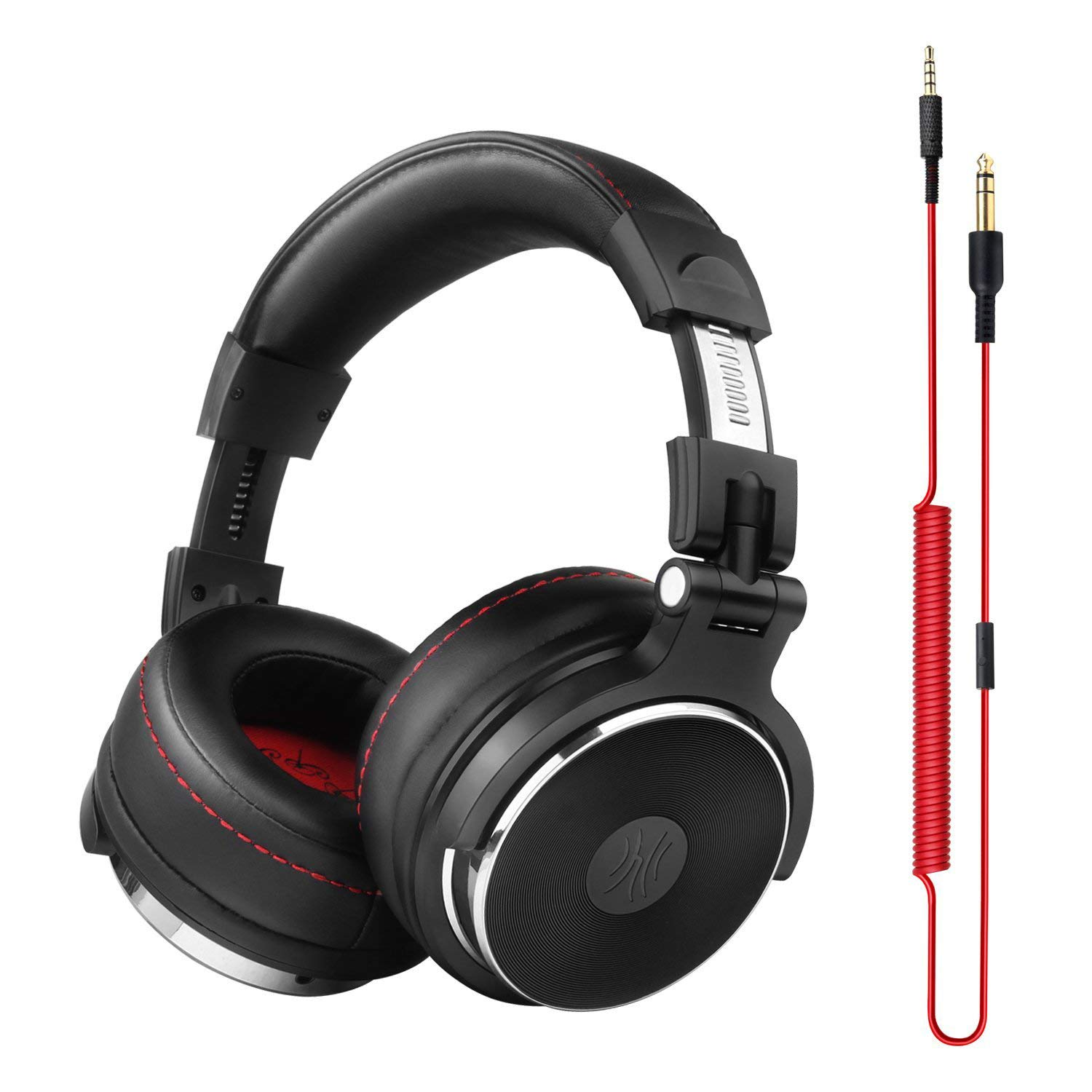OneOdio Over-Ear headphones with microphone without 6.3 mm and 3.5 mm adapter, 90 ° rotatable case and 50mm driver unit / Leather protections with protections (Black)