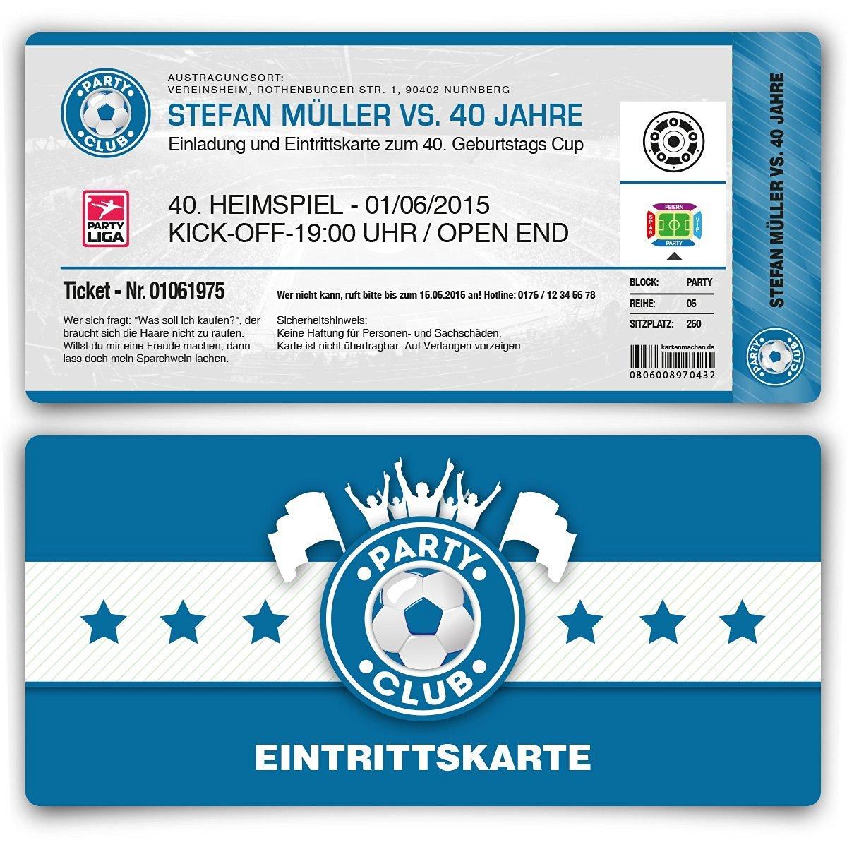 Einladungskarten zum Geburtstag (30 Stück) als Fußballticket Karte ...