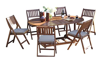Good Outdoor Interiors S10555 7 Piece Fold And Store Table Set, Eucalyptus, All  Wood
