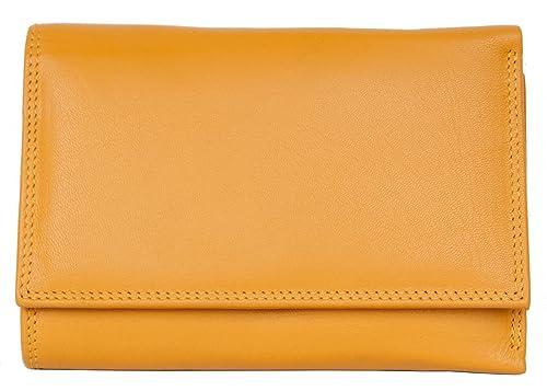 FLW-Corsi Cartera de cuero genuino agradable amarillo oscuro sin logotipos ni marcas: Amazon.es: Zapatos y complementos