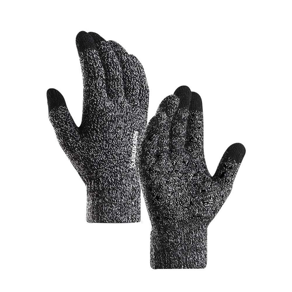 yanbirdfx 1 Pair Winter Cycling Full Finger Knitted Warm Men Women Touch Screen Gloves - Men Black+White