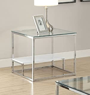 Major-Q 9080432 22 H Contemporary Modern Stye 8mm Clear Tempered Glass Top Chrome Finish Metal Base End Table with Shelf