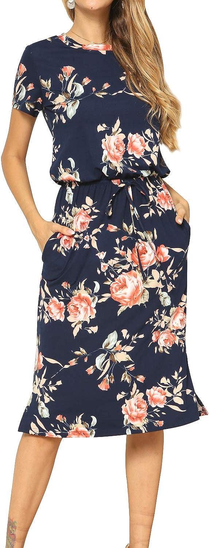 Simier Fariry Women's Fall Long Sleeve Casual Midi Dress with Pockets