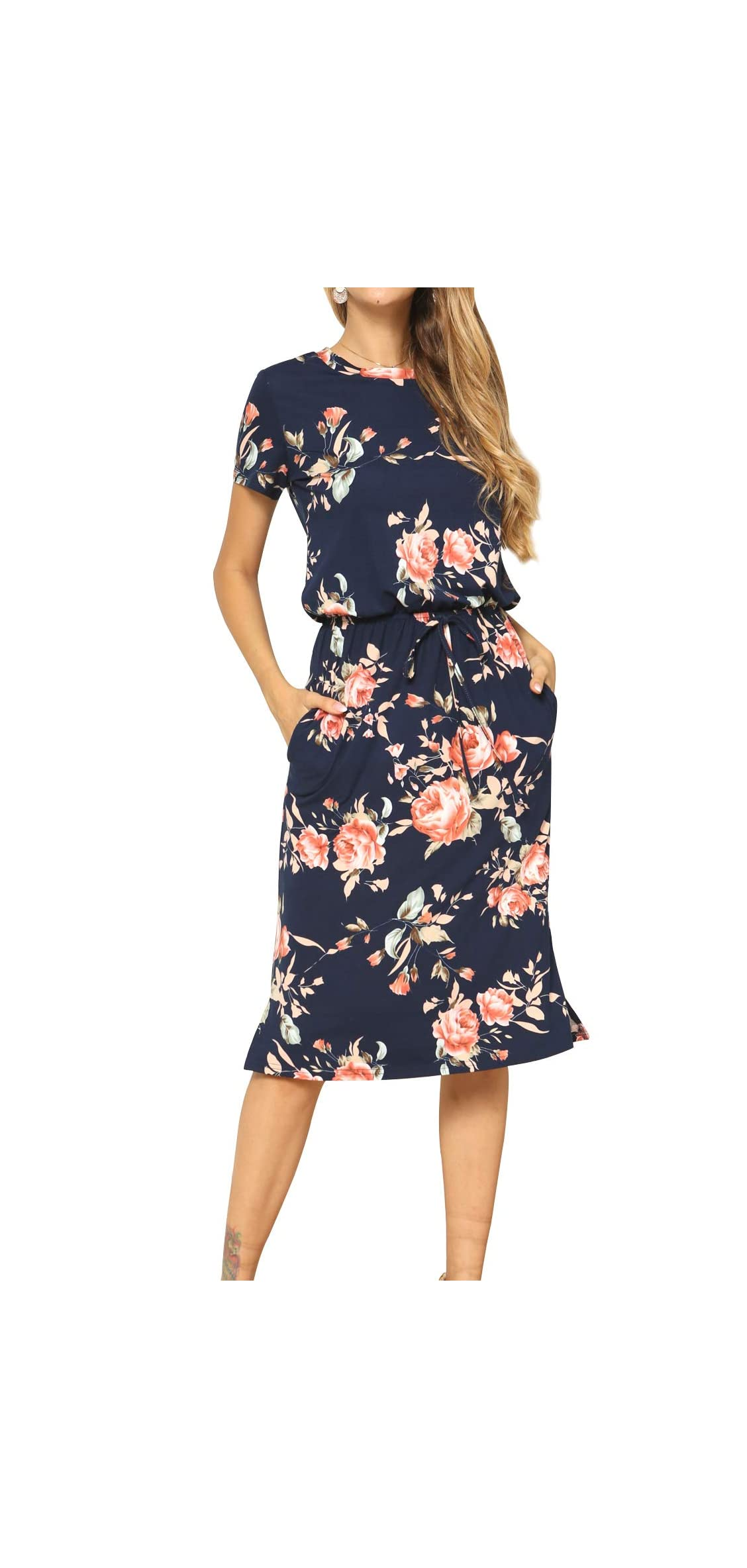 Women's Modest Work Casual Midi Dress With Pockets