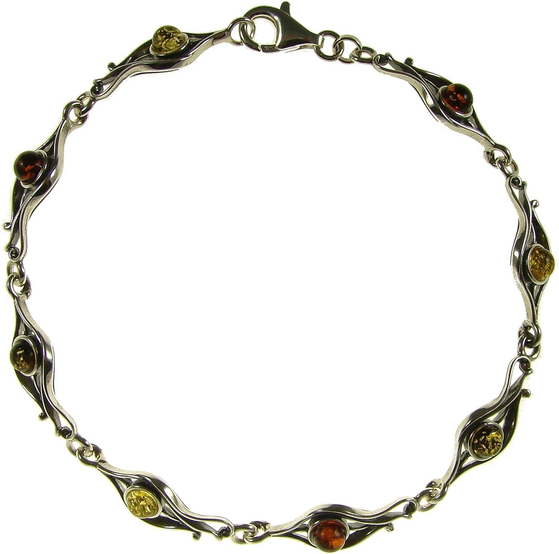 Pulsera de plata de ley 925 con ambar del Baltico joyeria