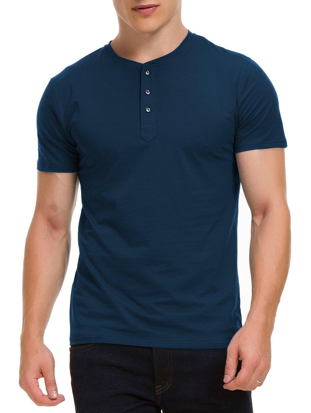 Boisouey Men's Casual Slim Fit Short Sleeve Henley T-Shirts Cotton Shirts Navyblue L