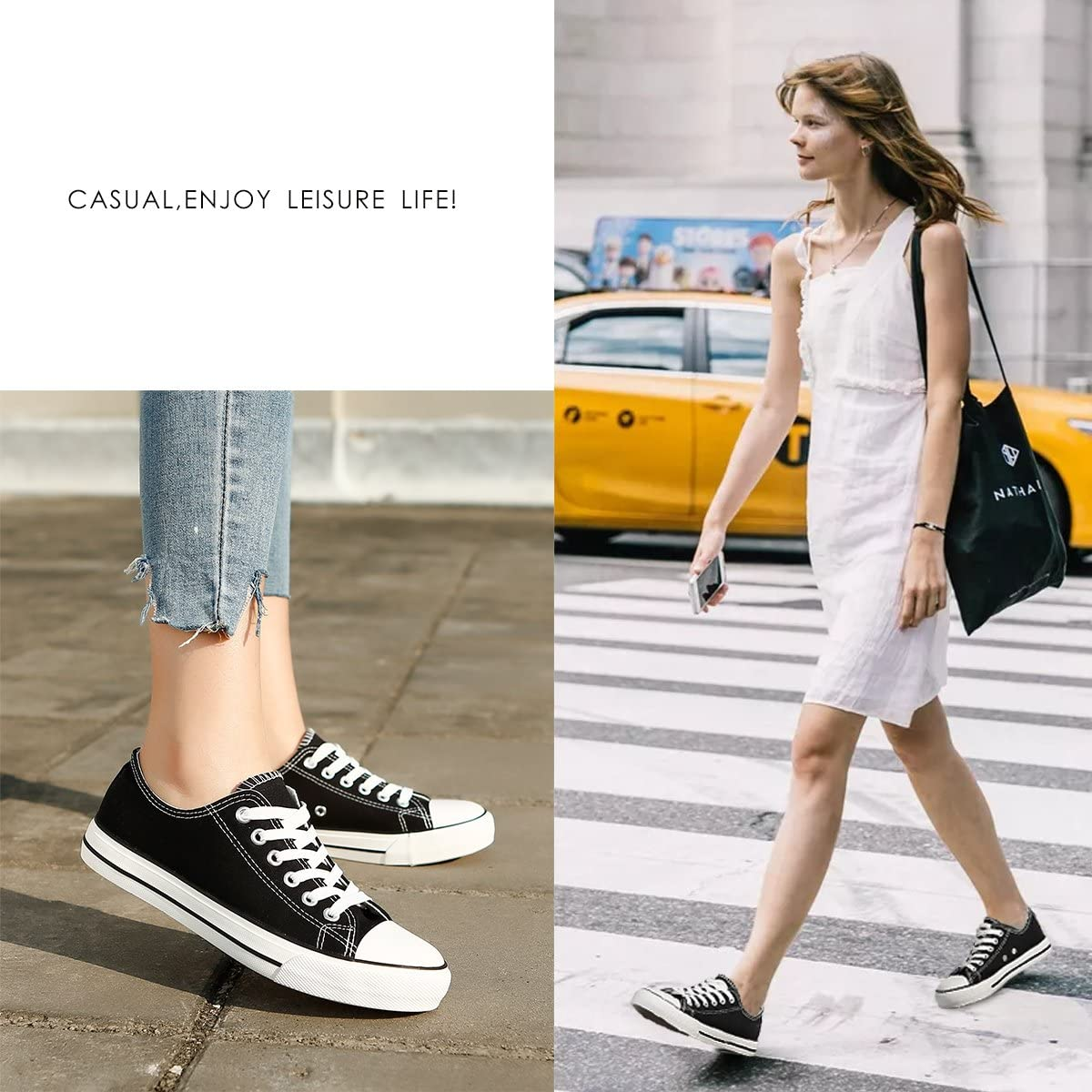 ZGR Women/'s Canvas Low Top Sneaker Lace-up Classic Casual Shoes Black and White