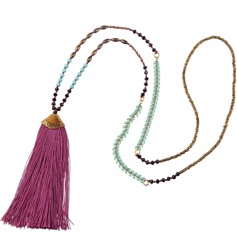 KELITCH Bohemian Created-Turquoise Crystal Bead Fish Bone Chain Tassel Long Necklace Kelitch Jewelry CAMN0215