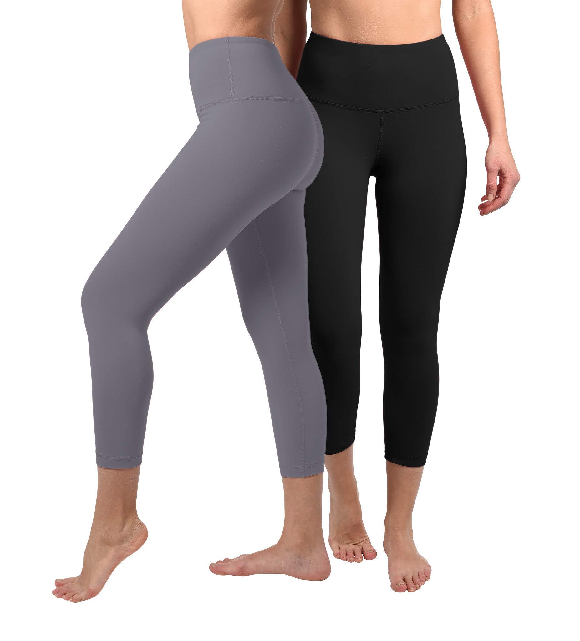 90 Degree By Reflex - High Waist Tummy Control Shapewear - Power Flex Capri - Black and Grey Opal 2 Pack - XS