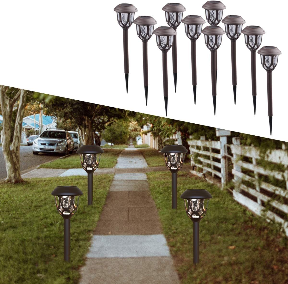 DUUDO Solar Lights Outdoor Decorative, Solar Pathway Lights Outdoor, Waterproof for Garden Patio Yard Landscape Driveway White 10Pack