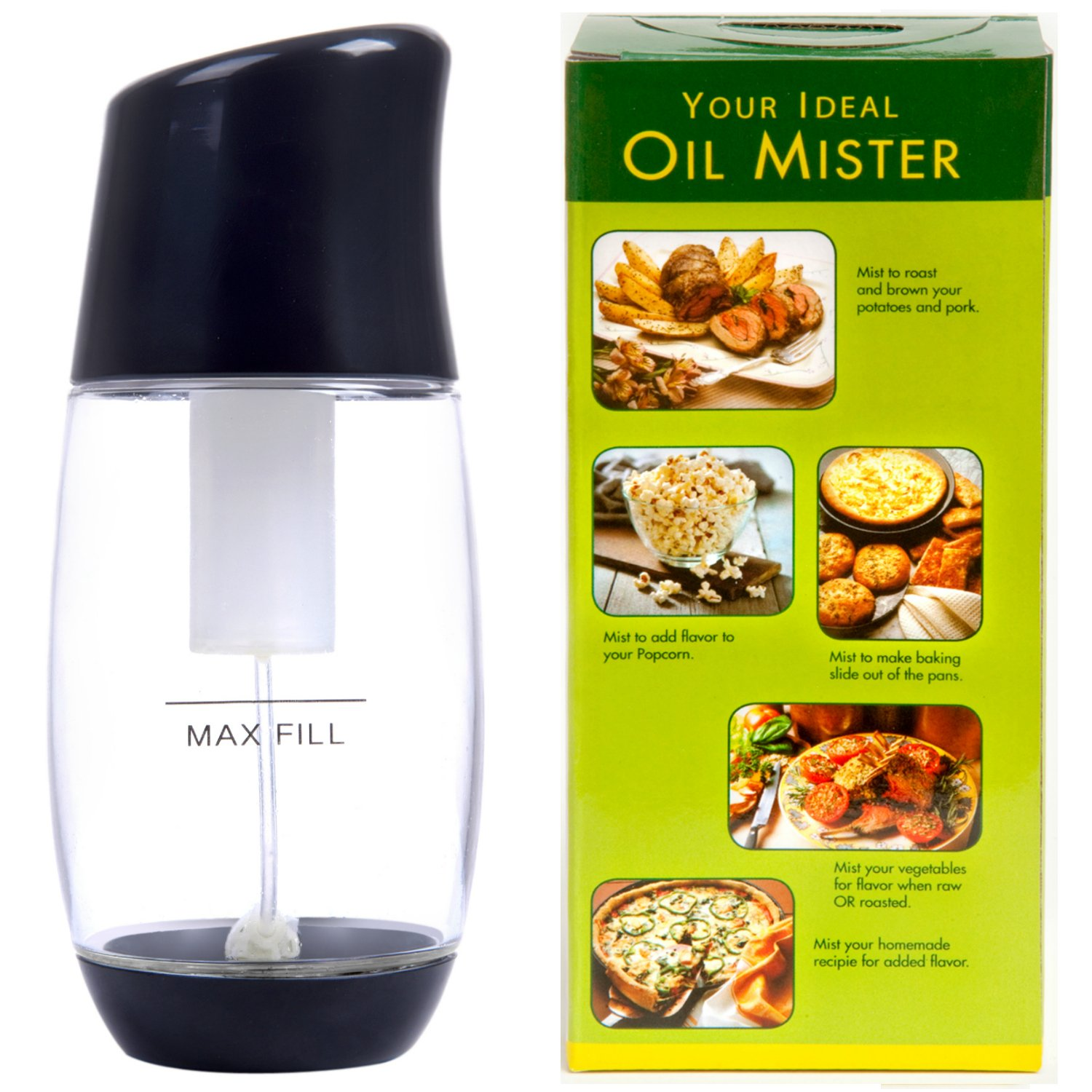 Ideal Olive Oil Mister - Premium Air Pressure Only Clog-Free Cooking Oil Sprayer for Salads, Baking, Grilling, Air Fryers by The Fine Life - Black