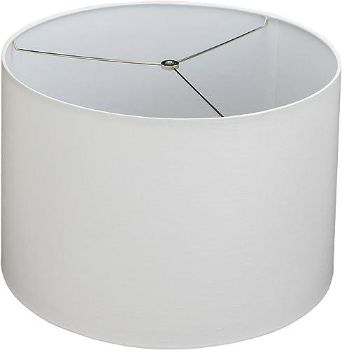FenchelShades.com 18 Top Diameter x 19 Bottom Diameter x 12.5 Slant Height Fabric Drum Lampshade Spider Attachment Designer Off White