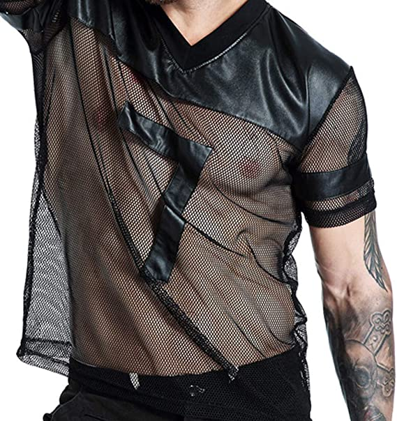 Save 15/% BBesty Mens Simulation Leather Mesh Breathable Stitching Sports Short Sleeve V-Neck T-Shirt Top Blouse