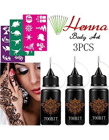 d6f3b83364075 India Henna Tattoo Kit,Jagua 3 Bottles Brown Henna Cones Paste Painting  Semi Tattoo Paste