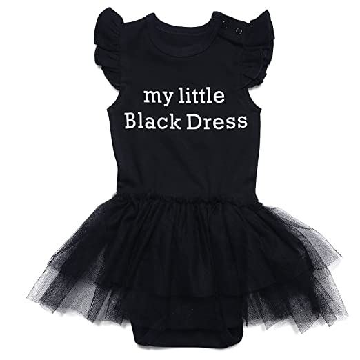 6299cb73a Amazon.com  ROMPERINBOX Baby Girls Solid Little Black Dress Bodysuit ...