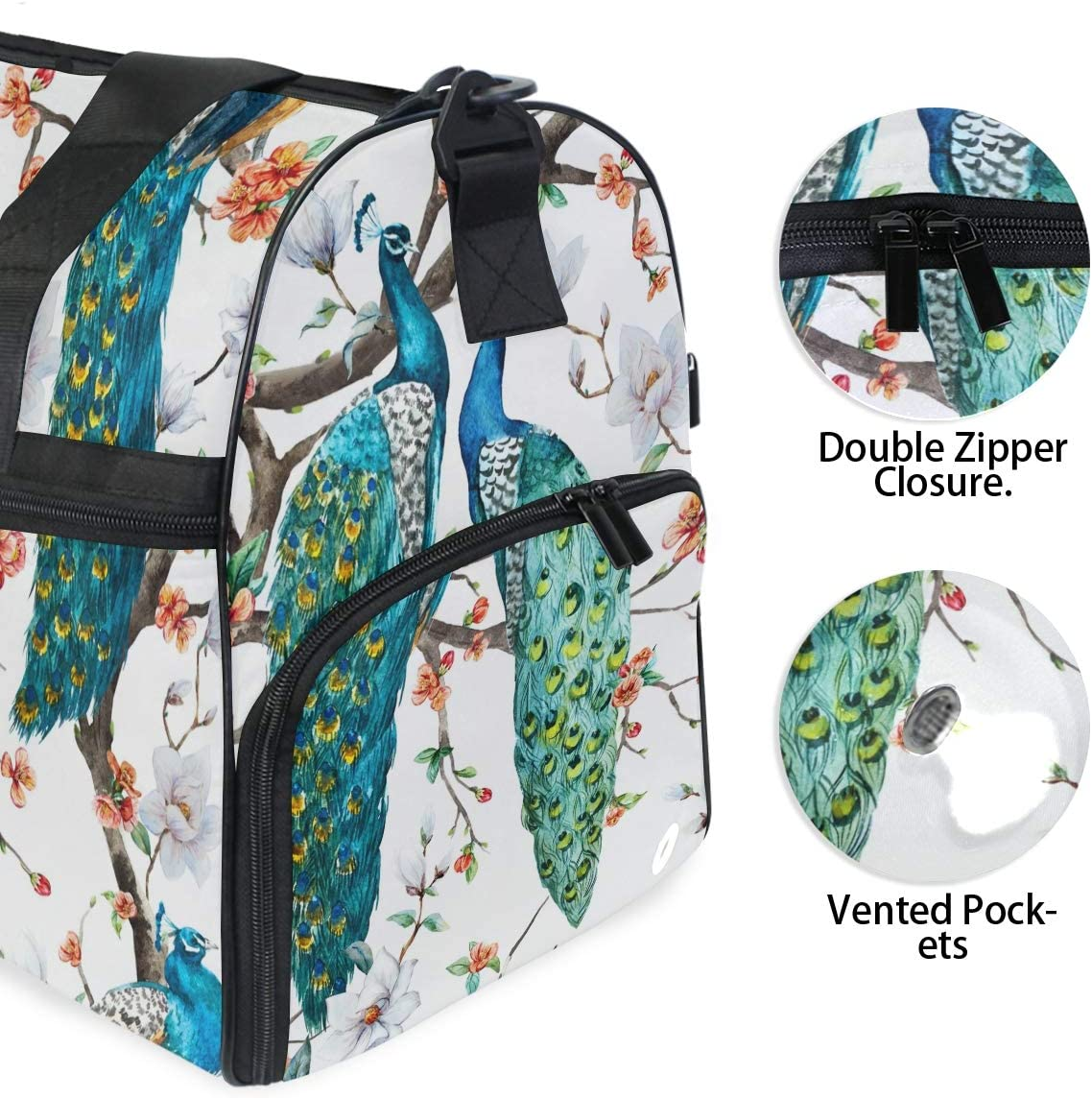 Peacock Sports Gym Bag with Shoes Compartment Travel Duffel Bag for Men and Women