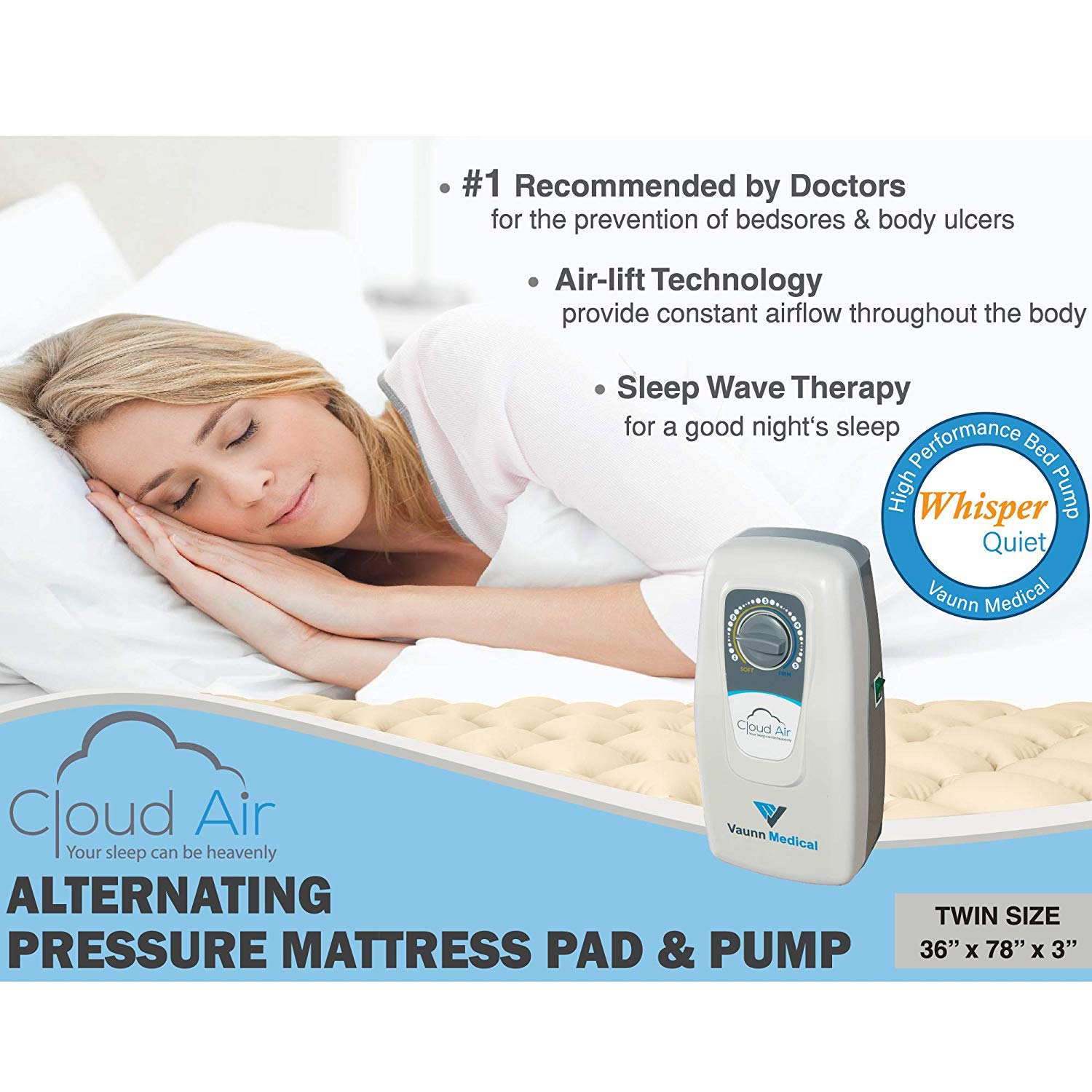 Cloud Air Whisper Quiet Alternating Air Pressure Mattress Topper with Pump (2018 Upgraded Model)