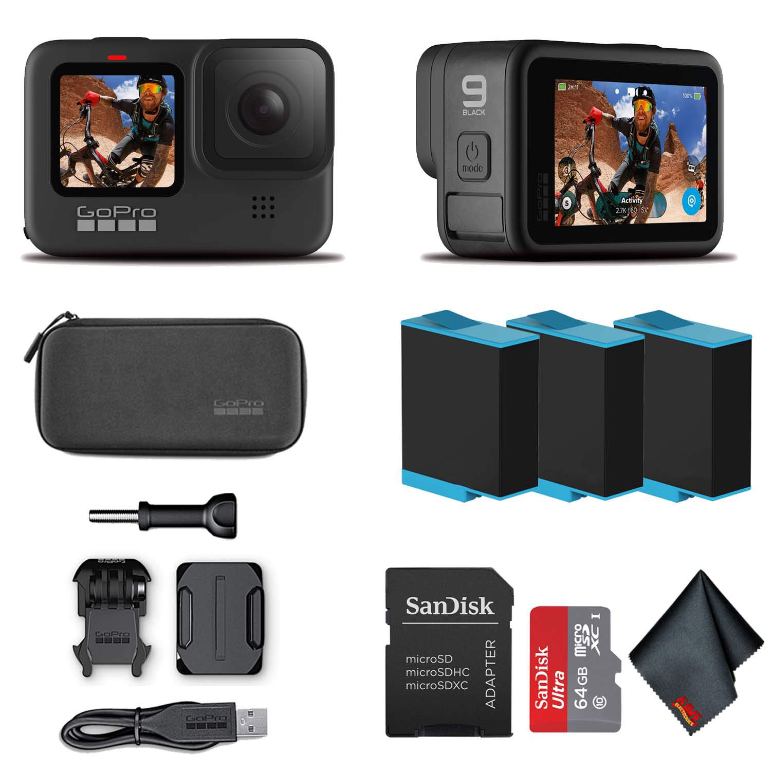 GoPro HERO9 Black - Waterproof Action Camera with Front LCD and Touch Rear Screens, 5K HD Video, 20MP Photos, 1080p Live Streaming, Stabilization + Sandisk 64GB Card and 2 Extra HERO9 Batteries