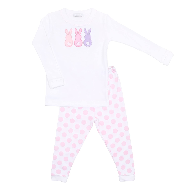 Magnolia Baby Baby Girl Little Peeps Applique Long Pajamas Pink