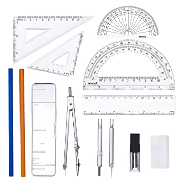 538f1dfa3 13 Pieces Geometry Set Rulers Compass with Protractor Math Tools Set for  Students