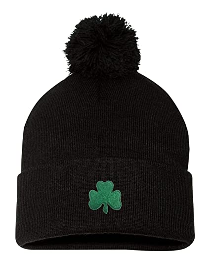 5f41beb2acf2e4 Go All Out One Size Black Adult Shamrock St. Patrick's Day Embroidered Knit  Beanie Pom