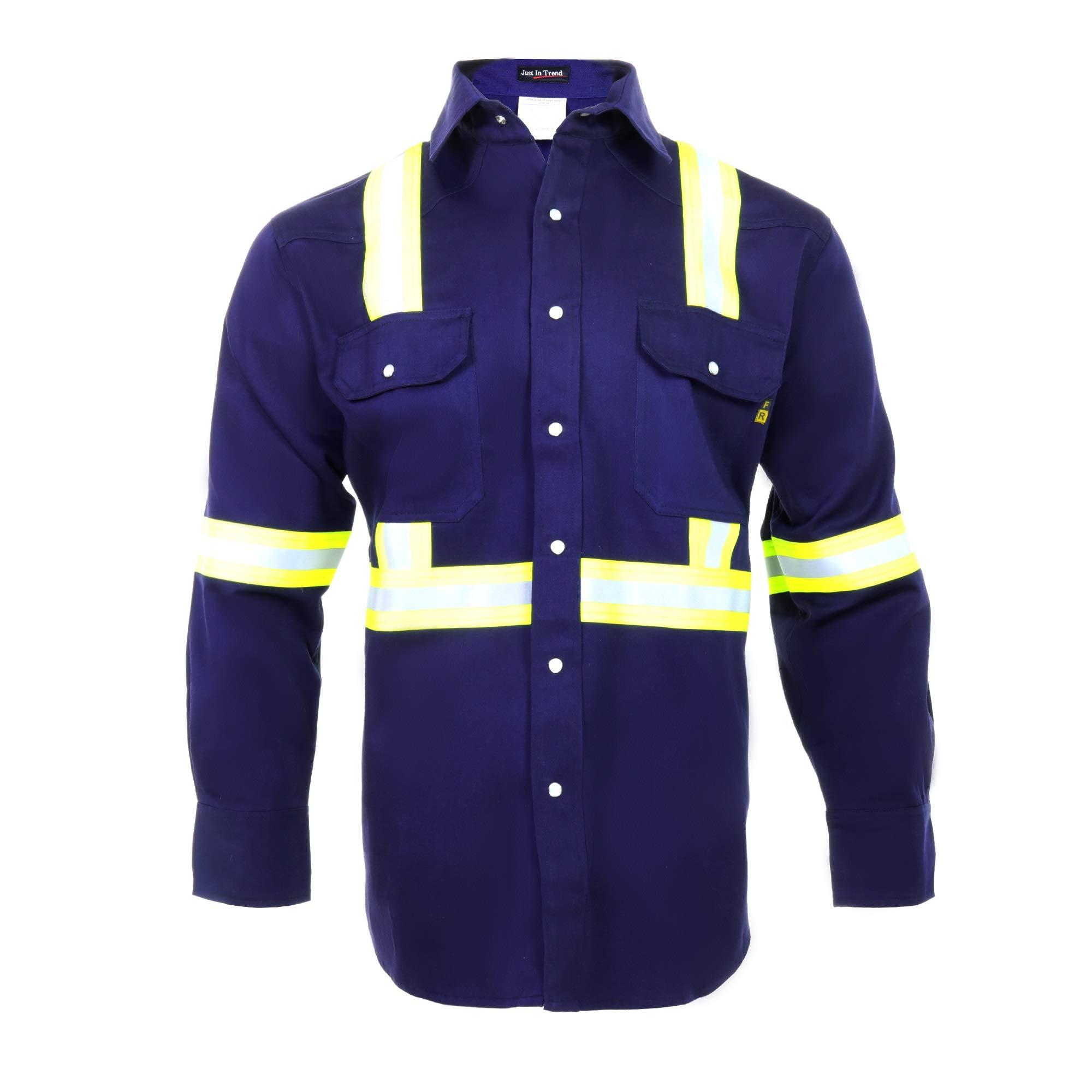 Flame Resistant High Visibility Hi Vis Shirt - 100% C - 7 oz (Large, Navy Blue)