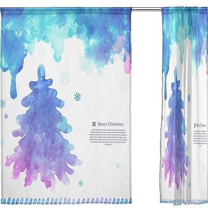 jstel feliz Navidad 2 pcs Voile cortina de ventana, color azul árbol ...