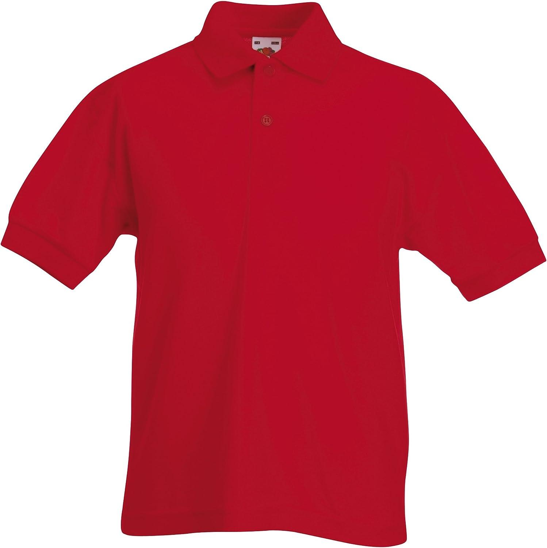 Fruit of the Loom Unisex Kids 65//35 Short Sleeve Polo Shirt