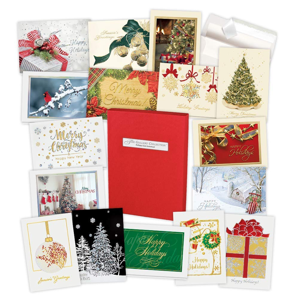 The Gallery Collection Christmas Cards.Holiday Cards Assortment Box 35 High Quality Cards And 38 Envelopes