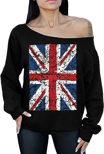 British Flag Off the shoulder oversized slouchy sweater sweatshirt
