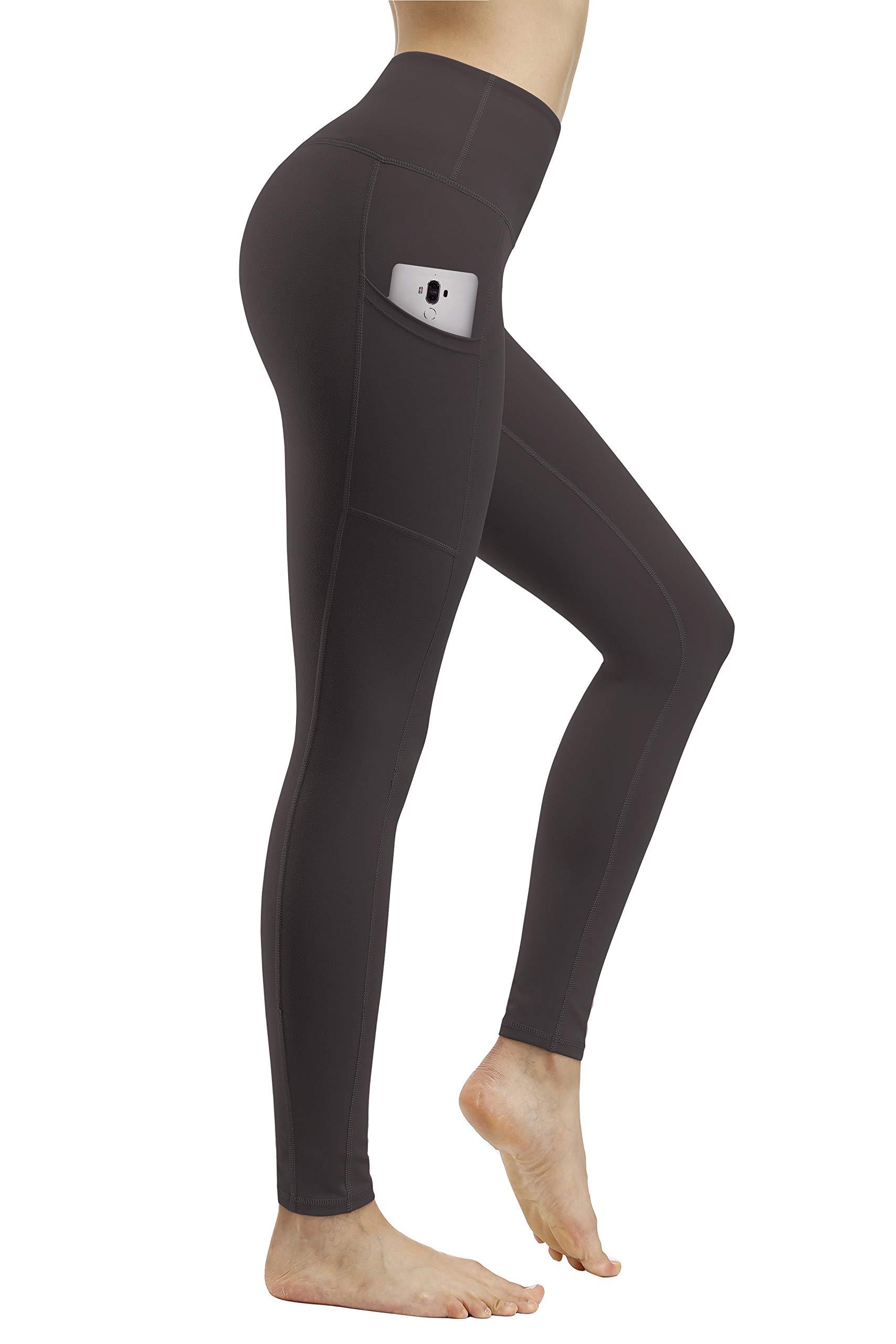 Fengbay High Waist Yoga Pants, Pocket Yoga Pants Tummy Control Workout Running 4 Way Stretch Yoga Leggings Leggings Dark Grey by Fengbay