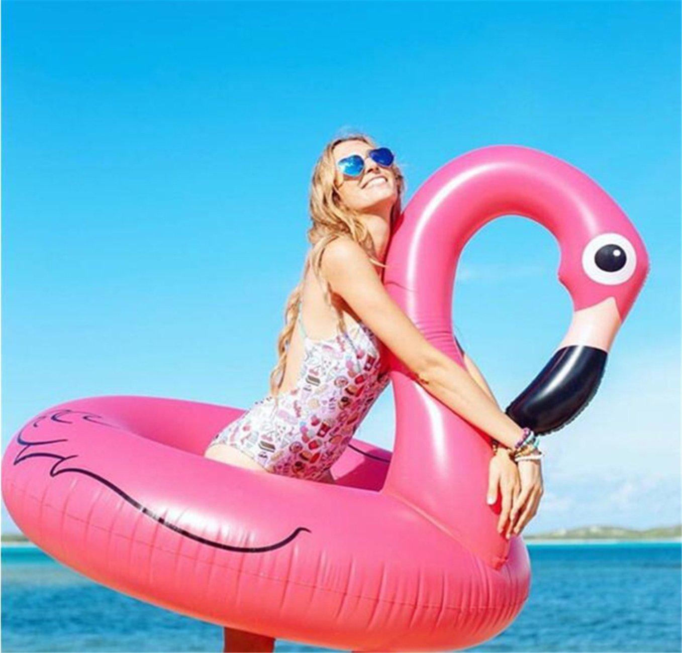 Flotador hinchable en forma de animales, 120 cm, flamenco rosa, para piscina, mar o lago