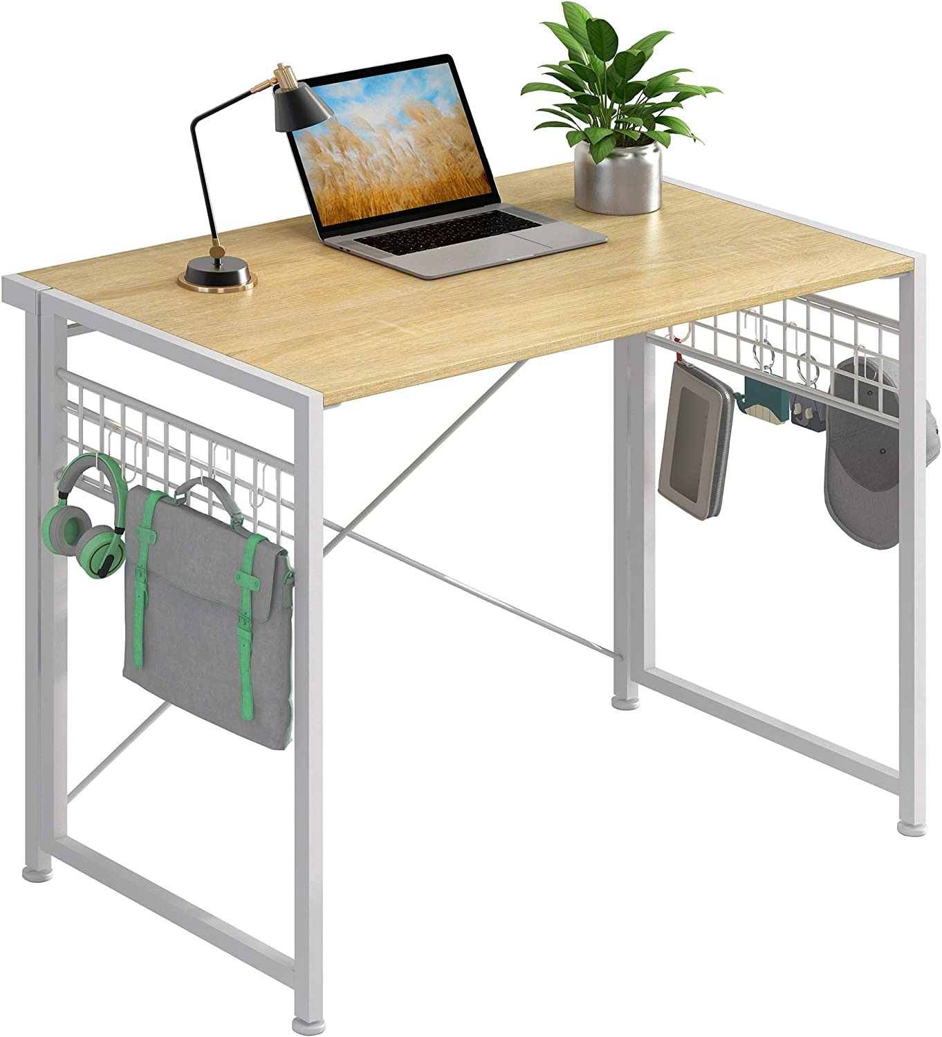 """JSB Folding Computer Desk with 8 Hooks, No-Assembly Small Writing Desk Modern Work Table Laptop Desk for Home Office (35.43"""" x 17.7"""" x 29.53"""", White & Hook)"""