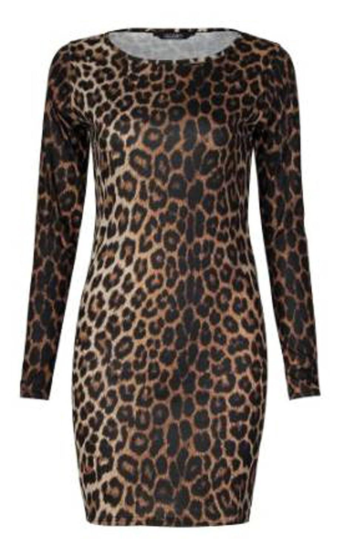 Girls Walk Women's Leopard Animal Print Ladies Bodycon Mini Dress Top