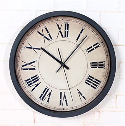 WERLM Diseño de personalidad a la decoración del hogar Reloj de pared Reloj vintage arte romano