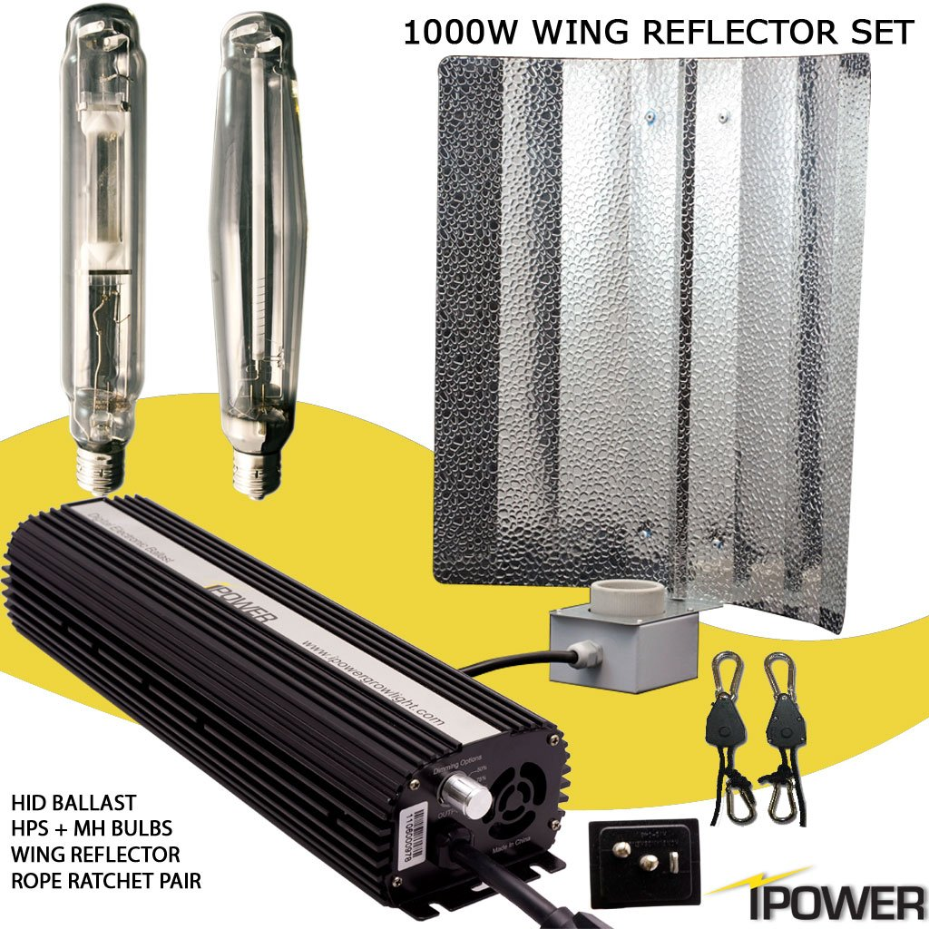 iPower 1000 Watt HPS MH Digital Dimmable Grow Light System Kits Wing Reflector Set by iPower