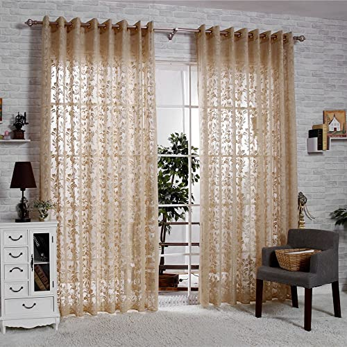 R.LANG Solid Grommet Top Fashions Sheer Jacquard Curtain 1 Pair Coffee 66 W X 90 L
