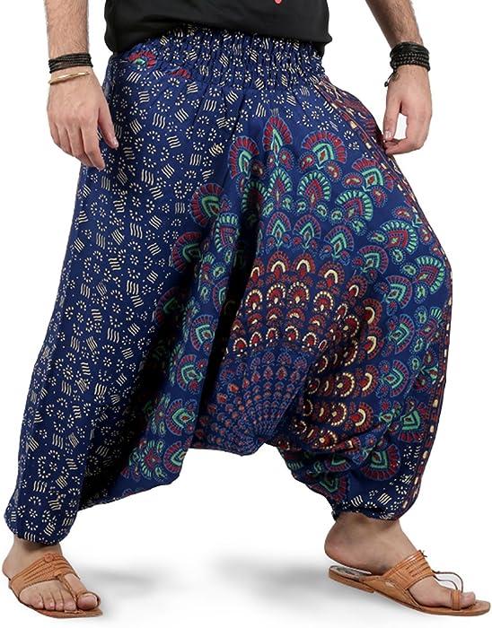 06a7102b312f9 Amazon.com  Mens Womens Harem Pants - Mandala Style (Blue White ...