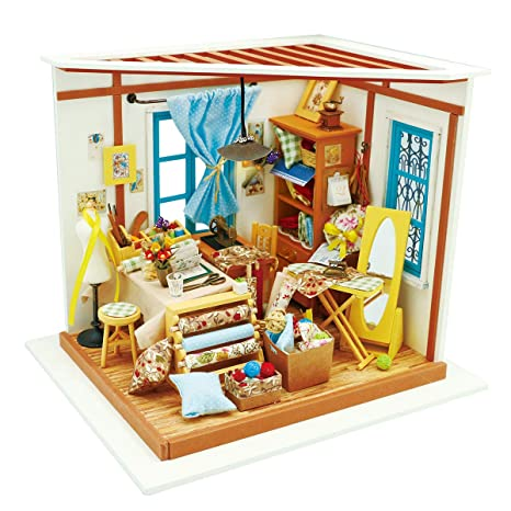 Amazon Com Rolife Wooden Miniature Dollhouse Kit With Light Diy Art