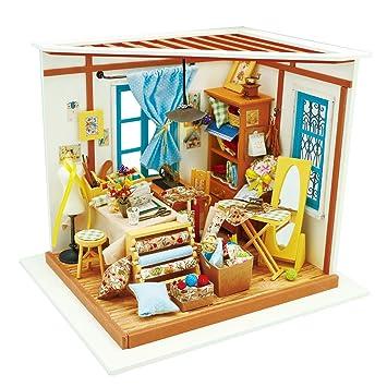 Amazon Com Rolife Wooden Miniature Dollhouse Kit With Light Diy Art