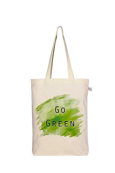 EcoRight Women s Cotton Canvas Reusable Eco Friendly  quot Go Green quot   Printed Gusset Tote Bag f46c757e30