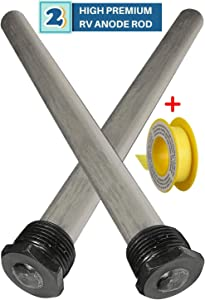 """(2 Pack) Water Heater RV Anode Rod - Replacement Suburban 232767 Mor-Flo - 3/4"""" Thread with PTFE Thread Seal Teflon Tape"""