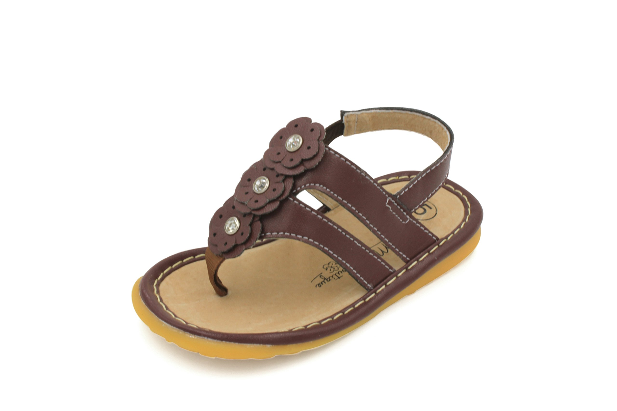 Little Mae's Boutique Brown Flower Thong Toddler Girl Squeaky Sandals Shoes (6)