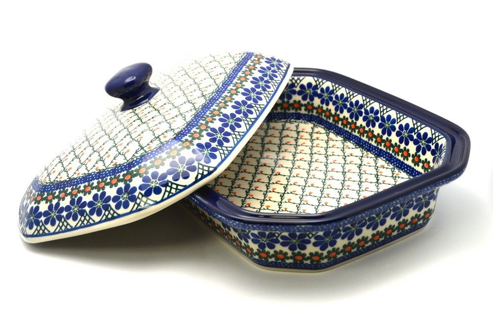Polish Pottery Baker - Rectangular Covered - Large - Primrose