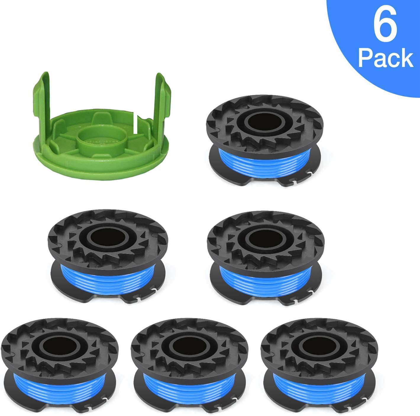 """Eyoloty 0.065"""" Single Line Auto-Feed Replacement Trimmer Spool 29092 for Greenworks Weed Eater String 24V and 40V Trimmer (6 Packs Plus 1 Cap)"""