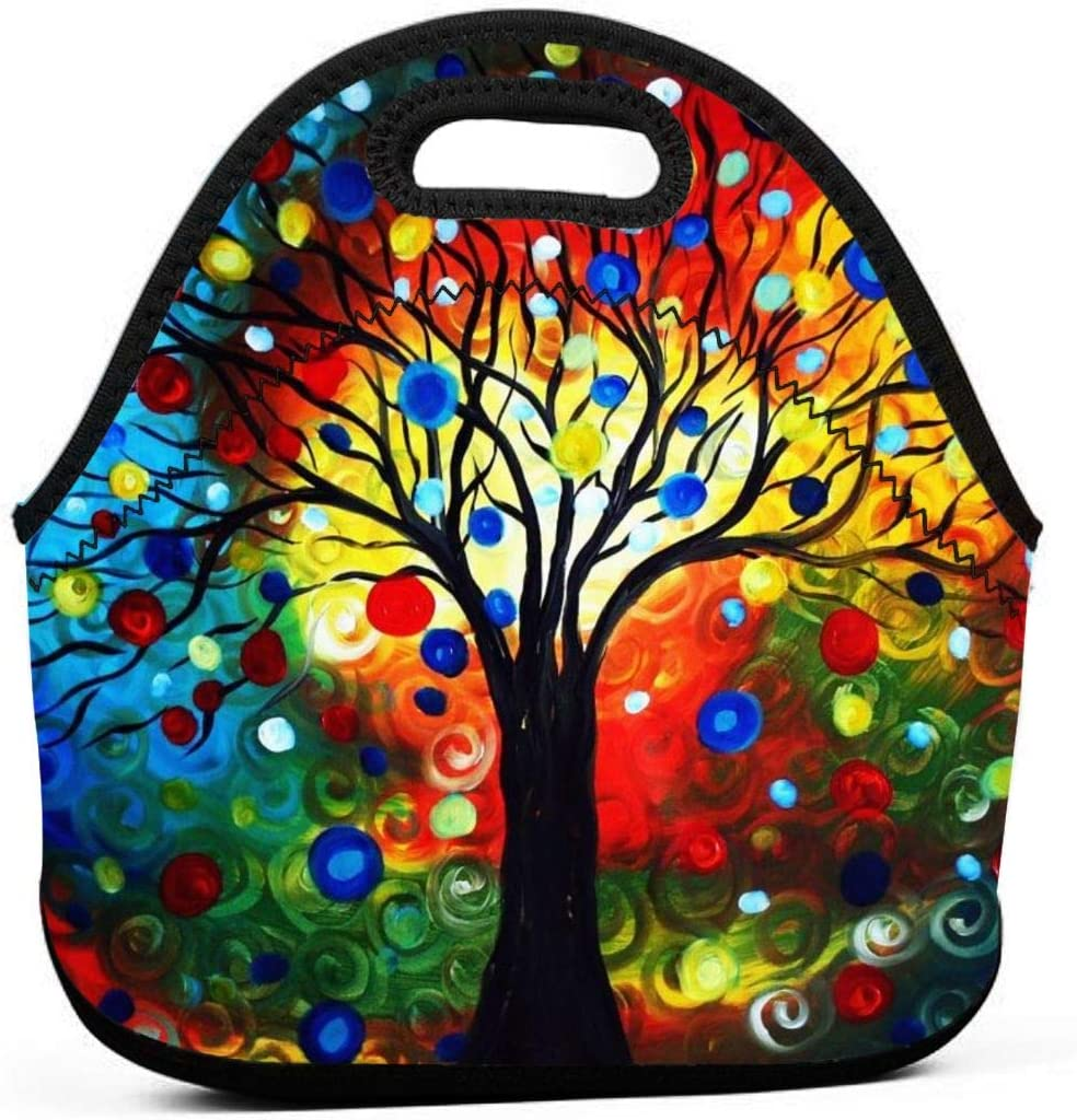 Colorful Tree Insulated Neoprene Lunch Bag Cooler Tote Handbag Lunch Box Food Container Gourmet Tote Warm Pouch For School Work Office