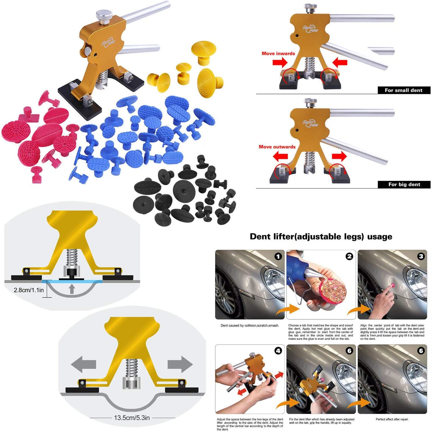 Paintless Dent Repair Tools Panels Trim Removal Kits The Most Complete Set of Dent Removal Tools 108pcs PDR Kit with 55pcs of Glue Dent Puller Taps and Car Dent Suction Cup Repair all kinds of dents