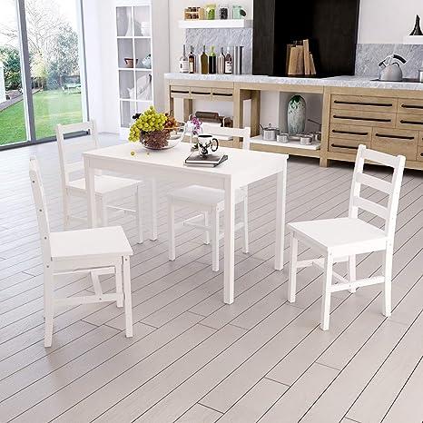Dakea Essgruppe Tischgruppe Esstisch Mit 4 Stühlen Set Weiß